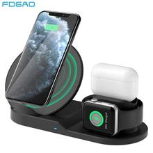 10 Вт Беспроводная зарядная станция USB C 3 в 1 быстрая зарядка подставка для Apple Watch 5 4 3 2 1Airpods Pro док станция для iPhone 11 XS XR X 8