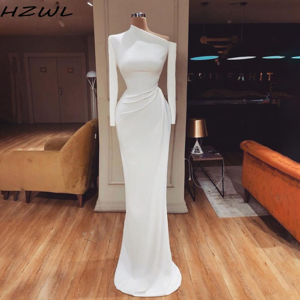 Simple African White Prom Dresses Cheap One Shoulder Long Sleeves Mermaid Evening Dress Floor Length Zipper Vestido De Festa