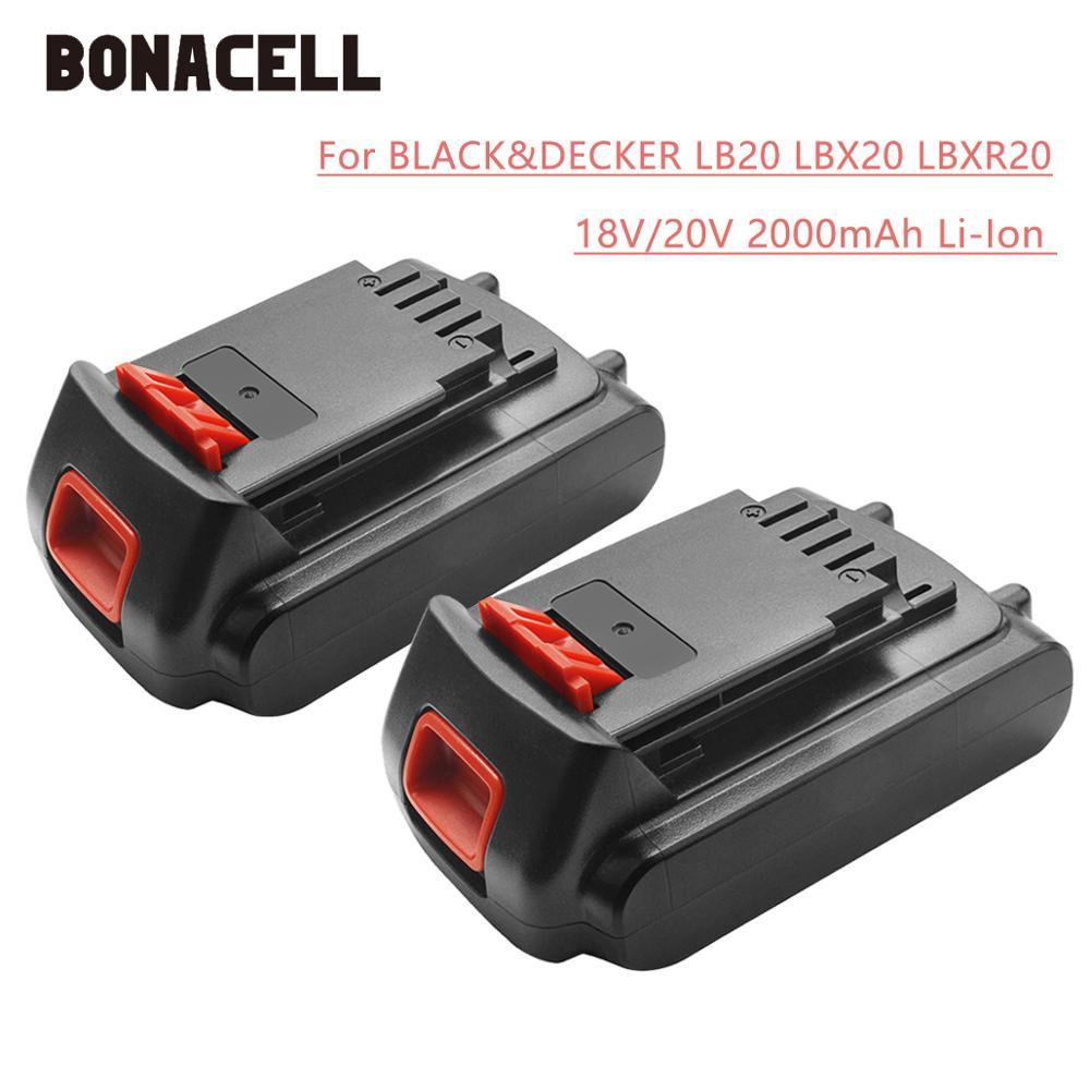 Bonacell 18V/20V 2000mAh Li-ion Rechargeable Battery Power Tool Replacement Battery For BLACK & DECKER LB20 LBX20 LBXR20 L30