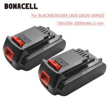 Bonacell 18V/20V 2000mAh Li-ion Rechargeable Battery Power Tool Replacement for BLACK & DECKER LB20 LBX20 LBXR20 L30