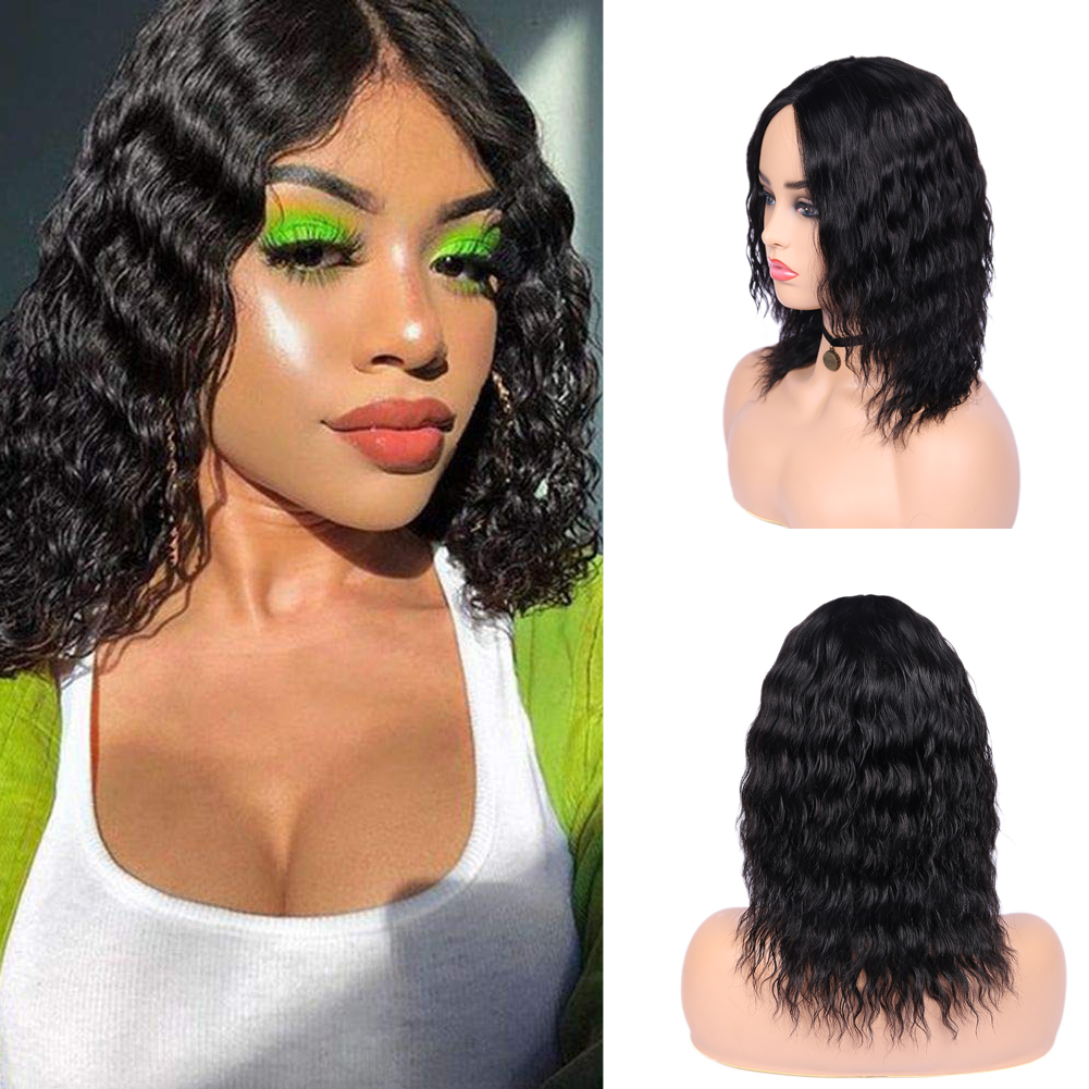 Wignee Deep Wave Human Hair Wigs For Black Women Brazilian Natural Hair 150% High Density Short Pixie Cut Lace Part Human Wigs