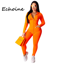 Echoine Fashion Hooded Two Piece Set With Zipper Crop Top + Long Pants Sportwear Tracksuit Women Outfits Solid 4 Color Plus Size