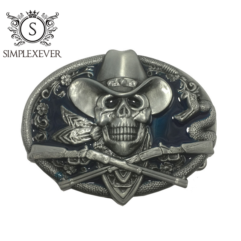 Western Skull Belt Buckle Cowboy Rodeo Jean Accessories Antique Silver Metal Belt Buckle For Men With Belt