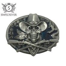 Западные череп пряжки ремня Ковбой Родео Жан аксессуары старинное серебро металл для мужчин с