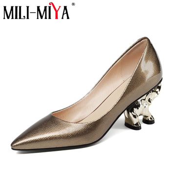 MILI-MIYA Brand Shoes Woman Elephant Sculpture Heel Leather Pumps High Heels Autumn Summer Pointed Toe Female Party Dress Shoes