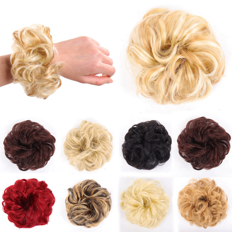 WEILAI Girls Brown Golden Red Curly Scrunchie Chignon  With Rubber Band Synthetic Hair Ring  Wrap On Messy Bun Ponytails