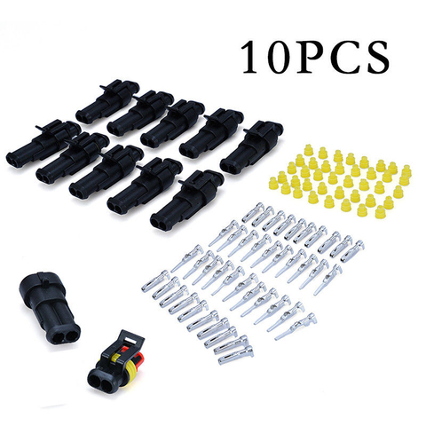 10 Sets Car Auto 2Pin Way Sealed Waterproof Electrical Wire Harness Connector Plug Kit  Electrical Wire Connectors Accessories Karachi