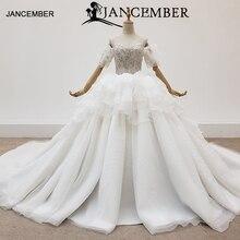 HTL1416 düğün elbisesi kollu İnci kapalı omuz gelin katmanlı gelinlikler top boncuk vestidos novia bodas playa