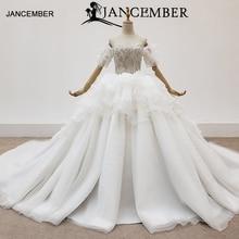 HTL1416 wedding dress sleeve with pearl off shoulder bride to be tiered wedding gowns top bead  vestidos novia bodas playa
