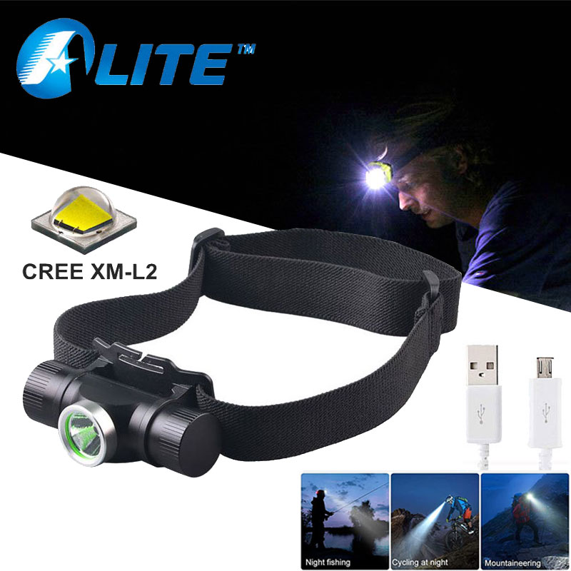 TMWT Powerful USB-Rechargeable Outdoor Lighting Headlamp Cree xml2 T6 LED 2000lm 3 Modes Fishing Light Camping Headlight