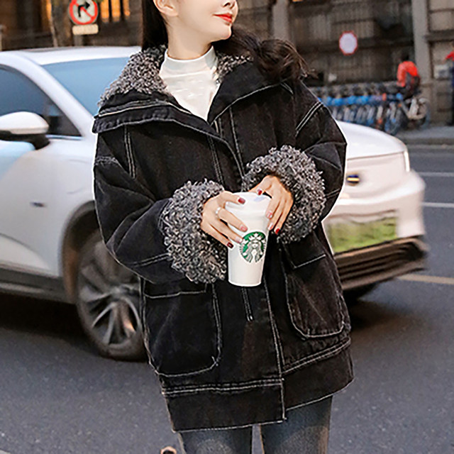 Jacket Women 2020 Black Women's Winter Loose Plus Velvet Wool Roll Tooling Thick Denim Jacket Coat Jacket Ladies Korea Пуховик 2