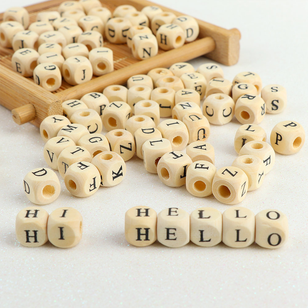 100pcs 10mm Alphabet Natural Wooden Letter Number Loose Spacer Beads Finding