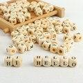100 шт./лот, квадратные деревянные бусины с буквами алфавита и цифрами для самостоятельного изготовления украшений, гладкий Прорезыватель дл...