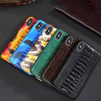 Real Ostrich Leather Cover for Iphone 11 Pro Max Black Hard Case Genuine Leather Phone Case for Iphone 11Pro Max