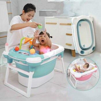 Baby Shower Portable Silicone Children Bathtub Accessories Baby Folding Anti-skid Bathtub Swimming Pool Newborn Baby Products