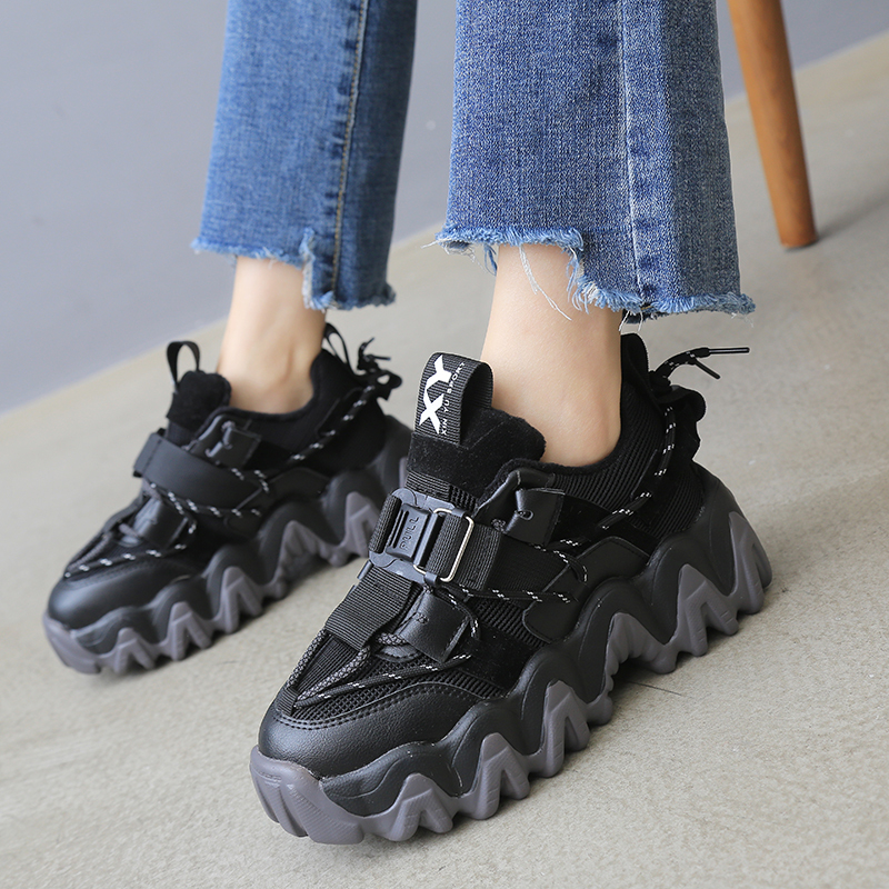 2020 Womens Platform Sneakers Ulzzang Fashion Woman Chunky Lace Up Old Dad Shoes Tennis Female Basket Sports Casual Shoes Black