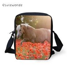 ELVISWORDS Fashion Womens Messenger Bags Flower Horses Pattern Woman Cross Body Cartoon Animal Girls Mini Flaps Purse
