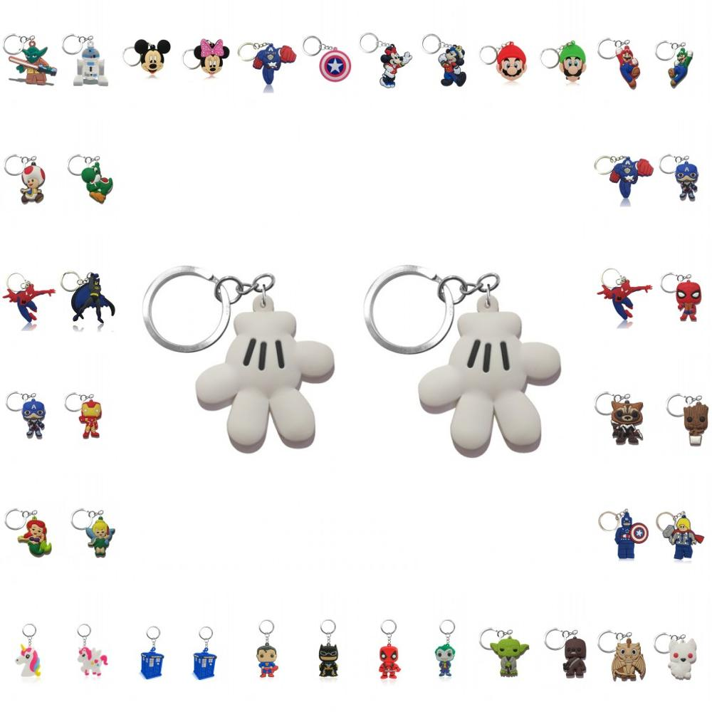 2pcs Avenger Keychain Star Wars Key Ring Mario Key Chain Unicorns Key Holder Fashion Accessories Party Gift For Friends
