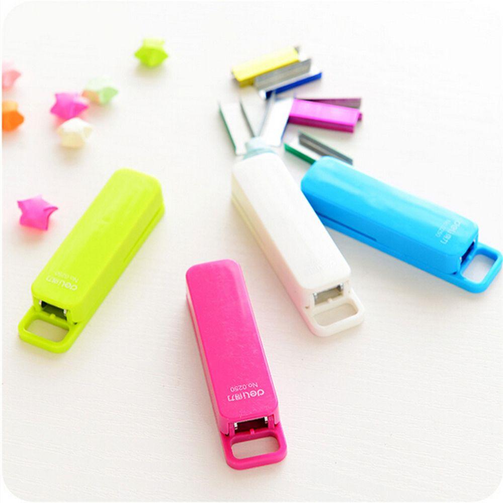 Mini Stapler Candy Color Staples Set Office Stationery Paper Binding Binder Book Fashionable Center Joint Stapler