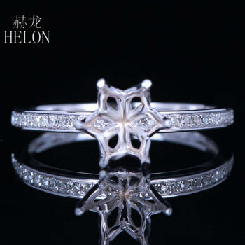 HELON 6.5-7mm Round Cut Real 10K White Gold Natural Diamond Semi Mount Ring Setting Women Engagement Wedding Trendy Jewelry Ring image