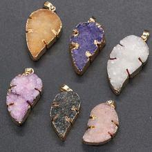 100% натуральный камень кулон в форме листа инкрустированный