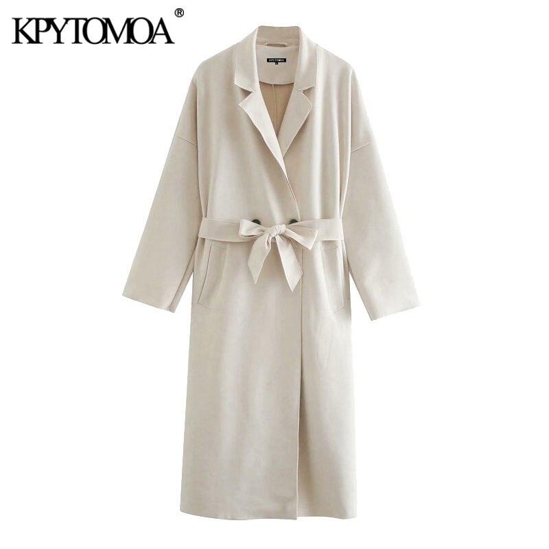 Женский Тренч из искусственной замши KPYTOMOA, винтажный Тренч с длинными рукавами и боковыми карманами, верхняя одежда для женщин 2020