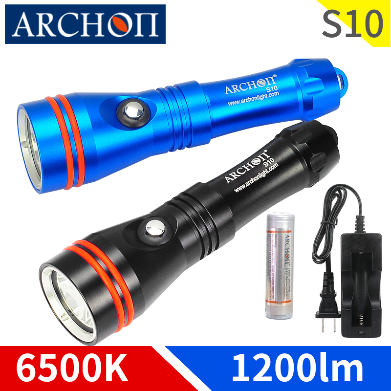 ARCHON S10 6000k 1200lm diving lighting flashlight Underwater 100m waterproof torch diving light spotlight lights 18650 battery