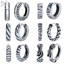 ZS 6 Style Mens 316L Stainless Steel Punk Rock Hoops Earrings Sawtooth Square Snake Skin Ear Piercing Jewellery accessory