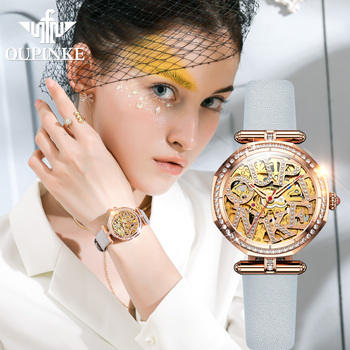 OUPINKE mechanical watch women fashion watch Leather strap Waterproof automatic watch Full hollow mechanical watch reloj mujer loreo authentic automatic mechanical watch waterproof belt diamond fashion luxury elegant hollow lady watch