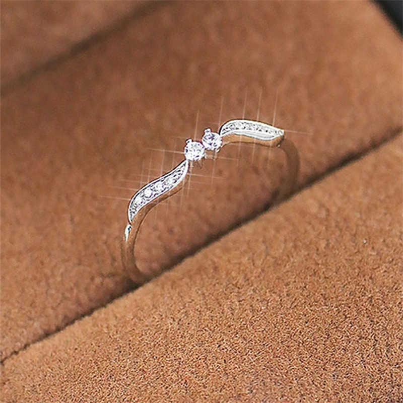 Crystal Leaf Zircon Rings For Women Jewelry Silver Gothic Rings For Female Engagement Ring Wedding Promise Ring For Women Gifts