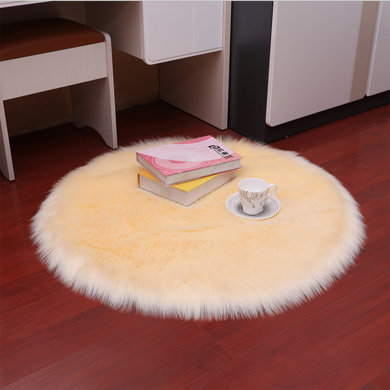 Round Long Hair Fluffy Rug And Tapetes Carpet Soft Faux Fur Wool Rug Living Room Decoration Bedroom Mat White Bedside Rugs