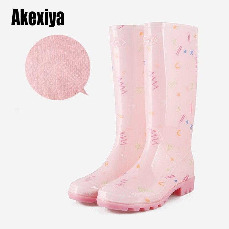 Резиновые непромокаемые сапоги для женщин; Модная водонепроницаемая обувь для девочек на высоком каблуке; Женские сапоги до середины икры; ...