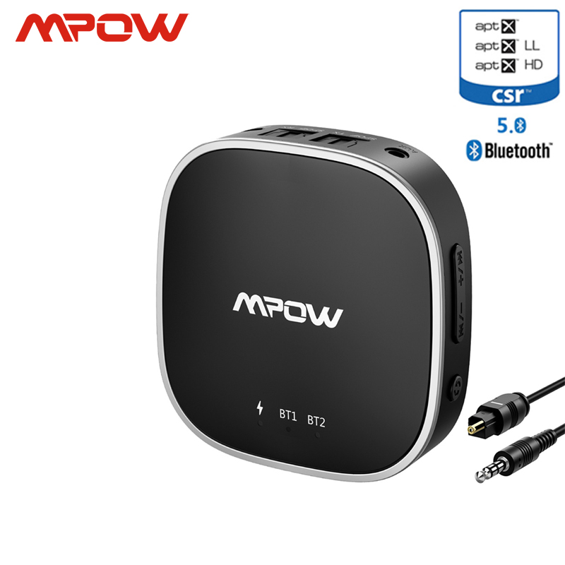 Mpow Bluetooth 5.0 Receiver Transmitter Audio Adapter Support Optical Toslink/Aux/RCA Port APTX HD/low Latency/APTX For TV Car