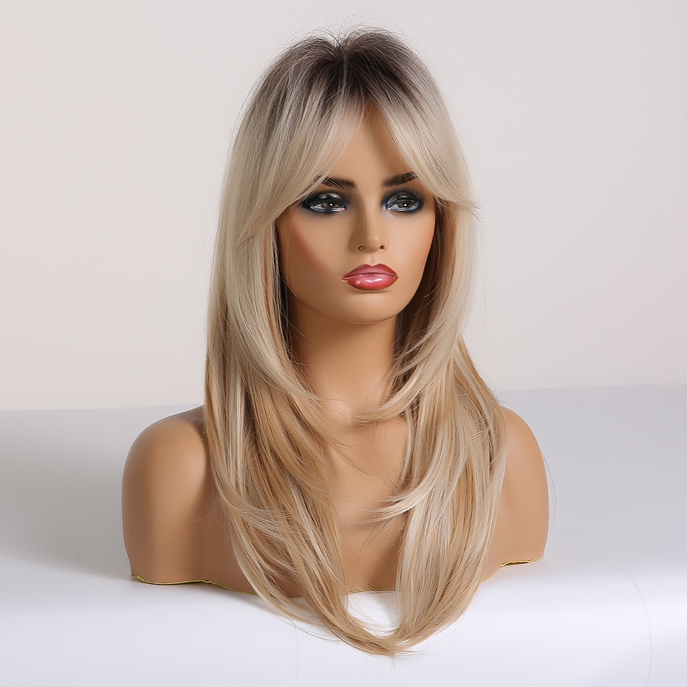 Image 2 - EASIHAIR Black to Blonde Omber Wigs with Bangs Synthetic Hair Wigs for Women Medium Length Layered Cosplay Wigs Heat ResistantSynthetic None-Lace  Wigs   -