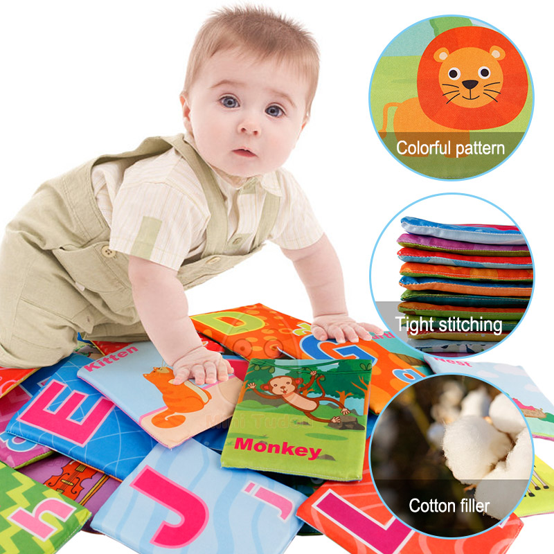Image 2 - Newest Flashcards Learning Resource Baby Book Toy 26PCS Soft Alphabet Cards With Cloth Bag Babies English Reading Books    -