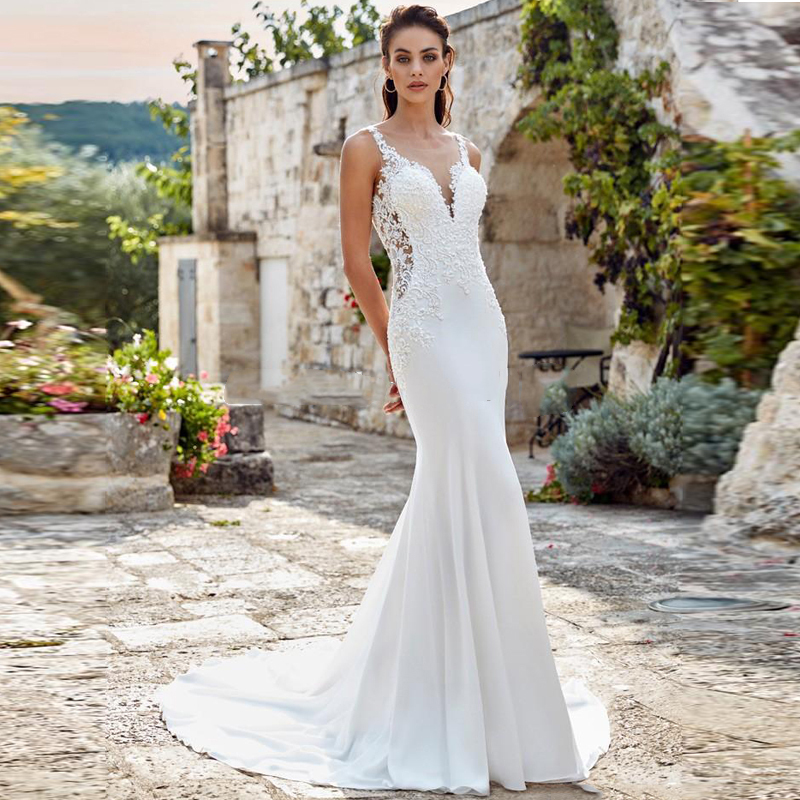 Eightale Mermaid Wedding Dress Boho Spaghetti Strap Appliques Lace Wedding Dress Custom Made Elegant White Ivory Bridal Dress