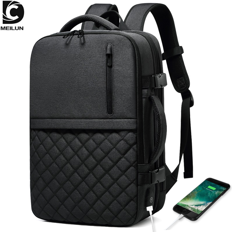 2019 NEW Travel Men's Backpack Multi-layer Space 15.6 inch Laptop Bag USB Charging Port Multifunction Expandable Backpacks a1811 image