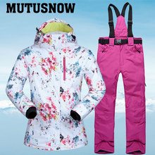 New Ski Suits Women Winter Snow Suit Female Skiing and Snowboarding Clothes Windproof Waterproof Outdoor Sports Jackets and Pant cheap MUTUSNOW COTTON Polyester Microfiber Hooded Fits true to size take your normal size CSPM Anti-Pilling Anti-Shrink Anti-Wrinkle