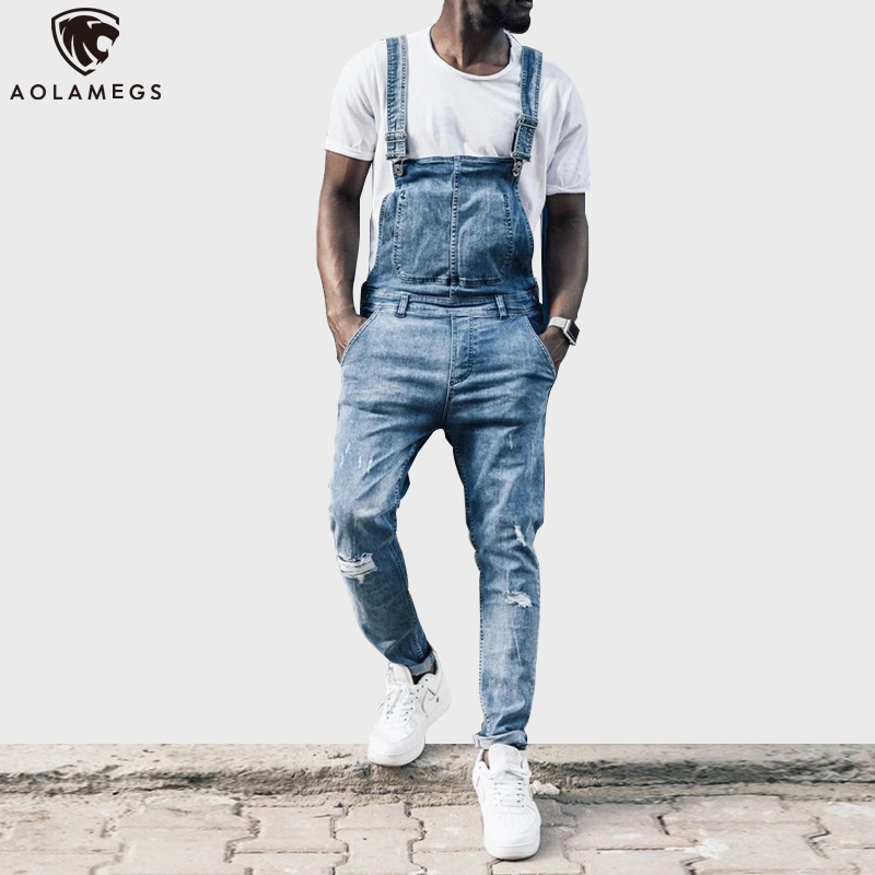 Aolamegs Biker Jeans Men Hole Overalls Men Casual Denim Baggy Cargo Trousers Hip Hop Jumpsuit Bib Pants For Men Fashion Rompers