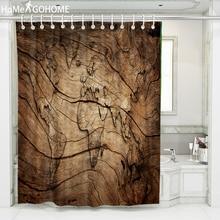 World Map Shower Curtain 3D Retro Wood Grain Decoration Mildewproof Waterproof Washable Curtains for Bathroom Bath Screen