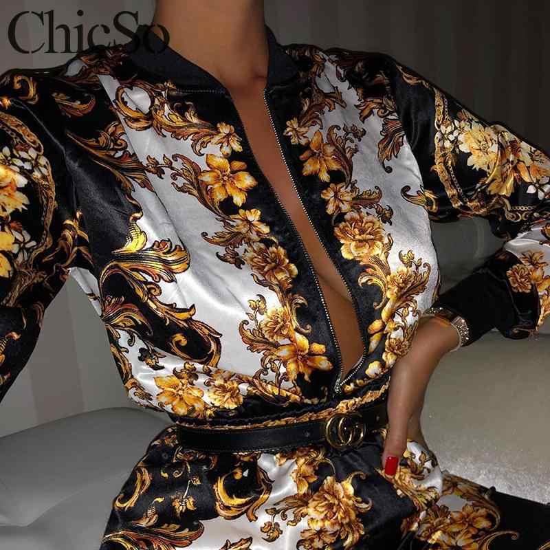 MissyChilli ペイズリープリント長袖冬スーツ女性のセクシーなヴィンテージジャンプスーツ秋女性パーティークラブ黒ロンパース