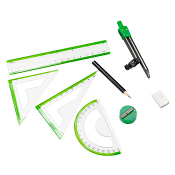 ezone drawing compasses candy color drafting tools math compasses set with pencil ruler eraser sharpener school office supply 8pcs/ set compass plastic Geometry Protractor Drawing School Eraser Compasses Set Math Eraser Ruler For Students high quality