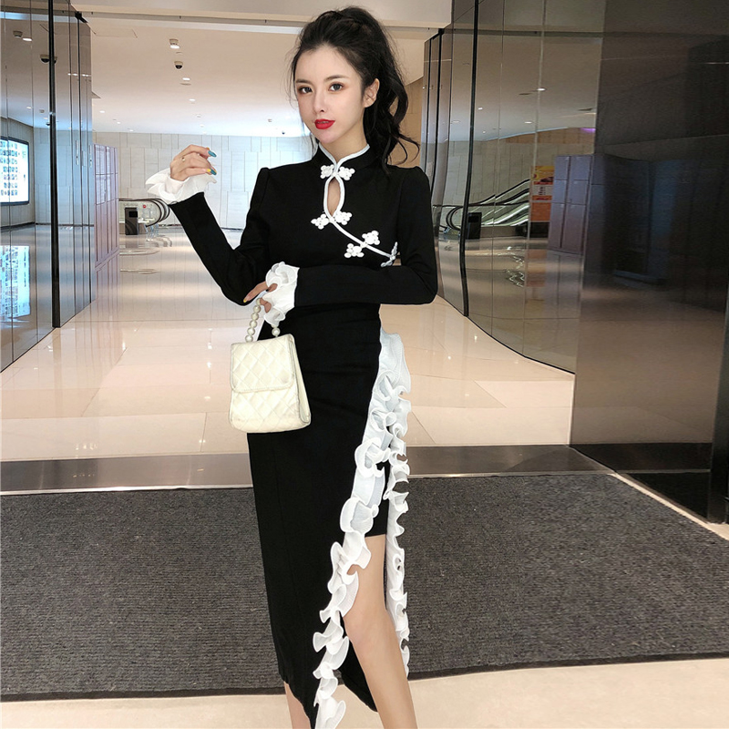 2020 Chinese Dress Elegant Long Qipao Dress Sexy High Split Lace Dresses Chinese Women Cheongsam Full Length Evening Gown Dress