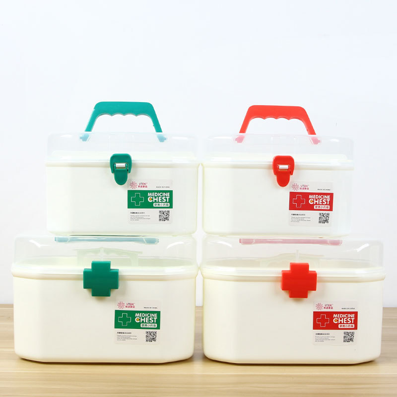 2 Color Medicine Box First Aid Kit Medical Box Double Layer Medicine Box Hand Chest For Household Indoor 4 Cells
