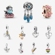 925 Sterling Silver Beads Pride Blue Dreamcatcher Two-tone Birthday Candle Love My Home Heart Colourful Rainbow Dangle Charm