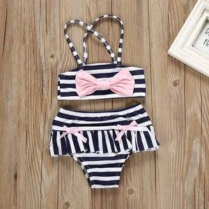 Swimwear Bikini Baby-Girls Children's New Stripe The Summer Outfits Bowknot