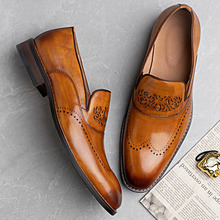 Oxfords Men Dress-Shoes Whole-Cut Italian Genuine-Leather Blue Black Party