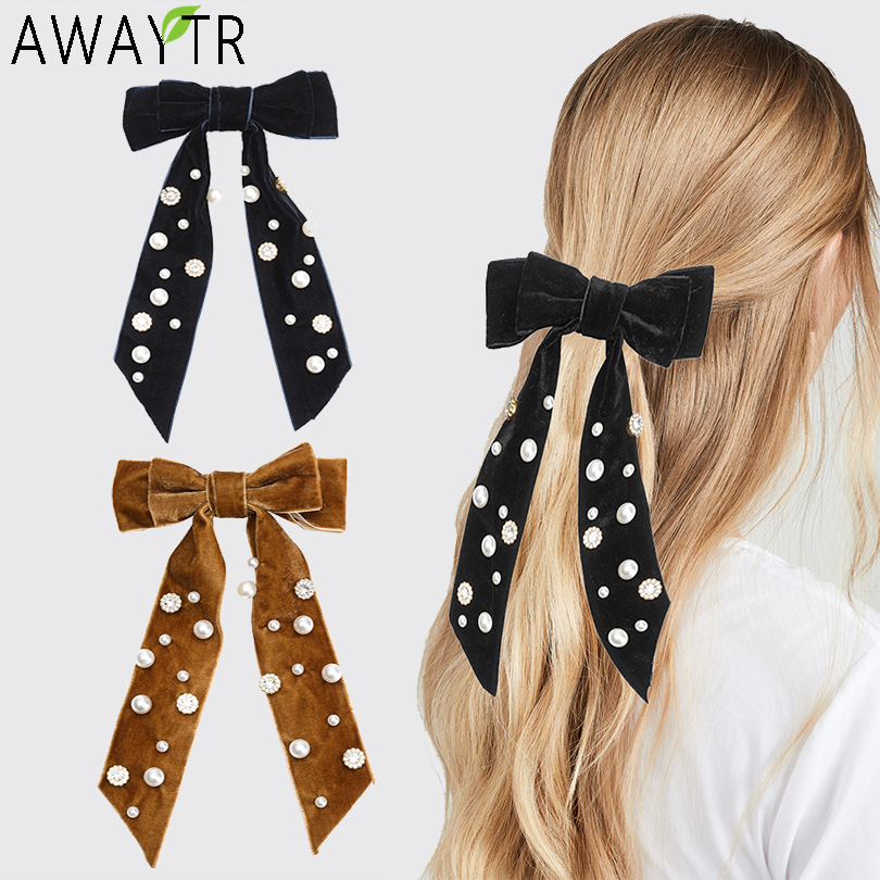 AWAYTR Velvet Ribbon Barrettes Bows Pearl Crystal Girls Solid Knot Hair Clips Hairpins Handmade Hair Accessories Mujer Headwear