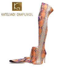 KATELVADI Size 34-45 New Shoes Women Boots Snake Pattern Over the Knee Sexy Autumn Winter Lady Thigh High K-575