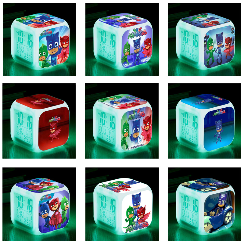 PJ Masks LED Night Light Alarm Clock Catboy Owlette Gekko Colorful Pj Mask Juguete Clock Toys For Children Birthday Gifts S64